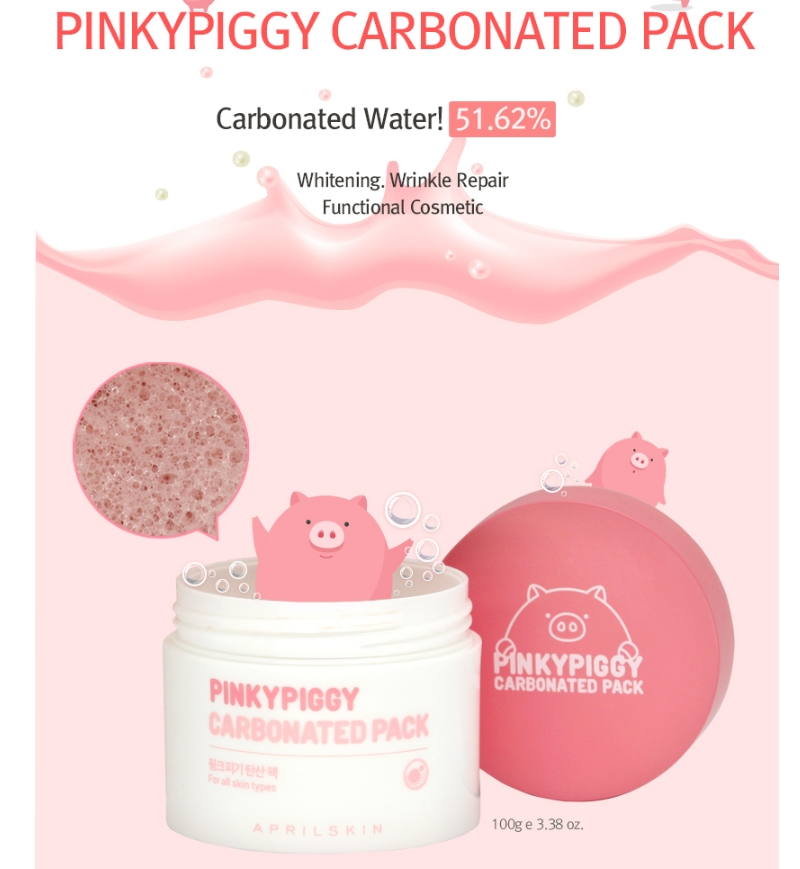 AprilSkin Pinky Piggy Carbonated Pack Hydrating, Alcohol Free Skin Care, Regenerating