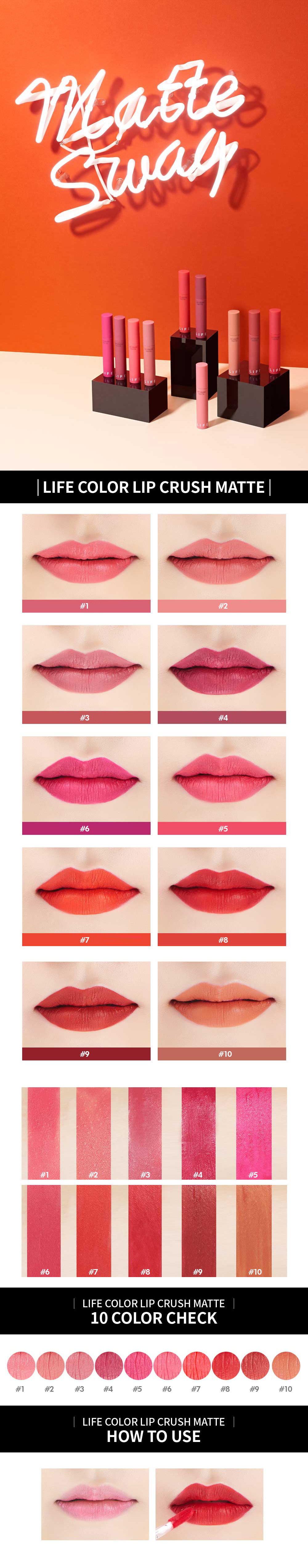 [It's Skin] Life Color Lip Crush Matte Power Adhesion Pigment Long Lasting